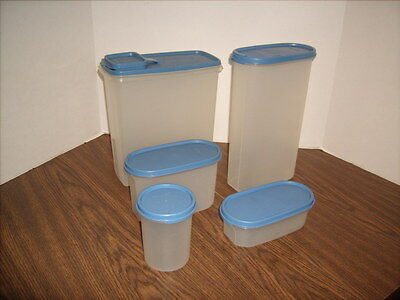 Tupperware Modular Mate Containers with Cereal Keeper Blue Lids 10 PieceLot