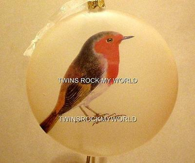 Robin  Birds Glass Ornaments Set Of 2 New Robins Collectible