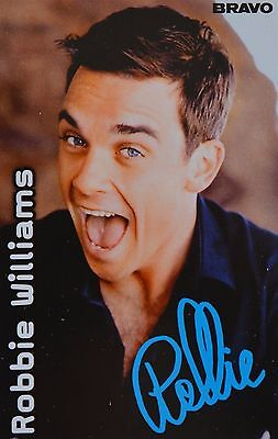 ROBBIE WILLIAMS - Autogrammkarte - Autograph Autogramm Fan Sammlung Clippings