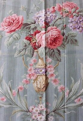 "Beautiful Antique c1903 French Rose Home Sample Textile Fabric~17""LX31""W"