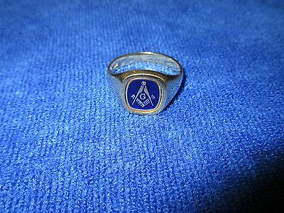Cushion 18ct on Sterling Silver Reversible Masonic Ring Blue Enamelled SIZE X