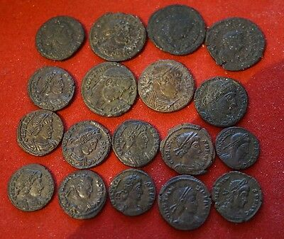 Lot of 18 late Roman bronze coins some are excellent all genuine