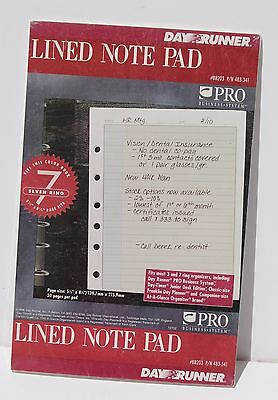 "Day Runner Lined Note Pad 5.5"" X 8.5""  # 483-341 - 7 Ring - Lot of 3 Packs"