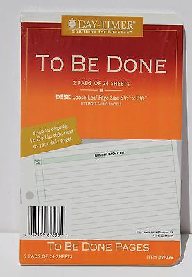 "Day Timer To Be Done Refill #87238 - 5.5"" X 8.5"" - 7 Rings - 2 Pads of 24 Sheets"