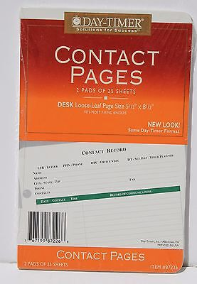 "Day Timer Contact Pages #87226 - 5.5"" X 8.5"" - 7 Rings - 2 Pads of 25 Sheets"