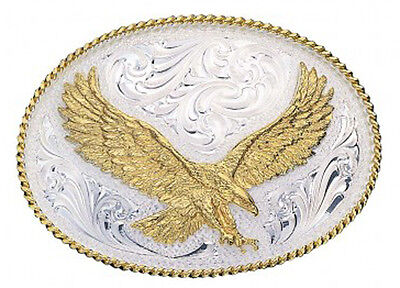 Montana Silversmiths Medium Silver Engraved Western Belt Buckle with Eagle