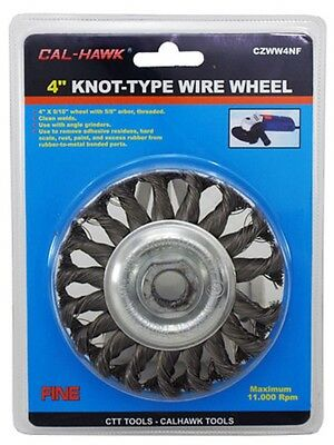 """NEW Cal-Hawk 4"""" Knot-Type Fine Wire Wheel  5/8"""" Arbor Use w/ Angle Grinders"""