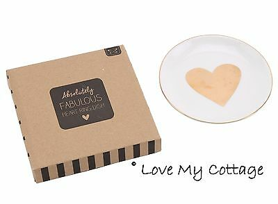 Fab My Bling Ceramic Jewellery Ring Dish Cream & Gold Heart Design Gift Boxed