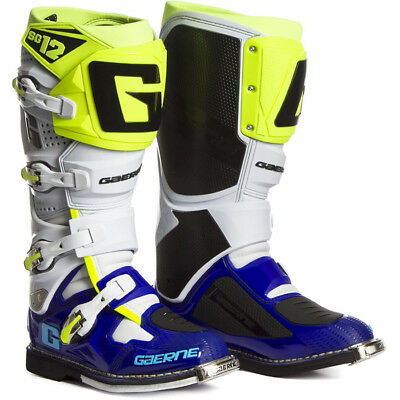 NEW Gaerne 2017 Mx SG12 Blue White Fluo Yellow Premium Adult Motocross Boots