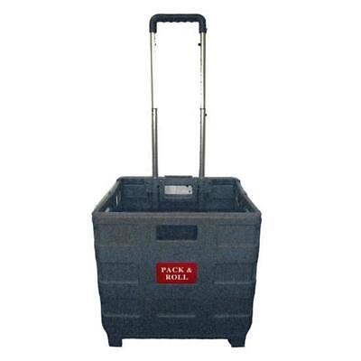 Foldable Folding Shopping Crate Trolley Cart Portable Pack & Roll for Grocery