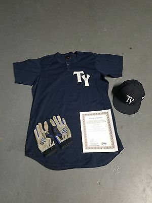 Curtis Granderson 2013 Tampa Yankees Game Used Jersey-Hat-Gloves