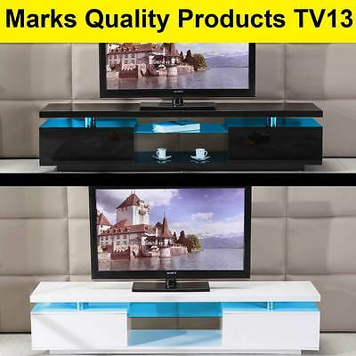 TV Cabinet White or Black Entertainment Unit Stand Gloss LED Lowline Shelf TV13