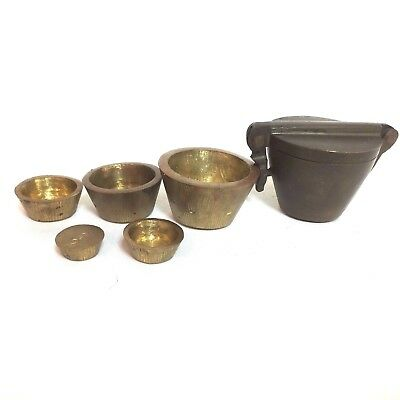 Antique Brass Apothecary Nesting Cup Weights