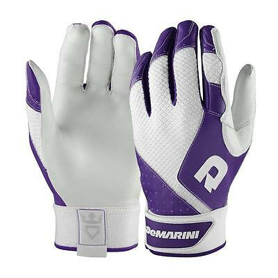 New Womans Size-L DeMarini Phantom Sheep Skin Leather Batting Gloves - Purple
