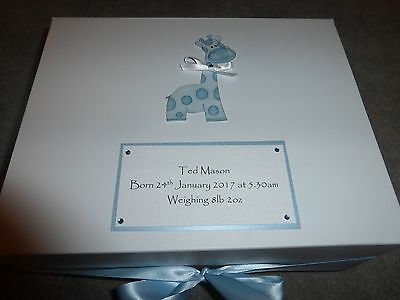 Large Personalised Giraffe Memory Keepsake Box New Baby Christening Naming Day