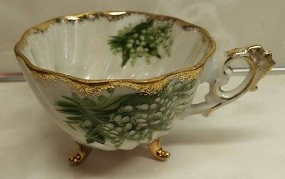 Napco~Hand Painted~Footed Tea Cup~Lilly of the Valley~Gold Trim~IDD239~Japan
