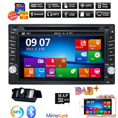 Double 2DIN GPS Navigation Car Stereo DVD Player Bluetooth Auto Radio FM USA+cam
