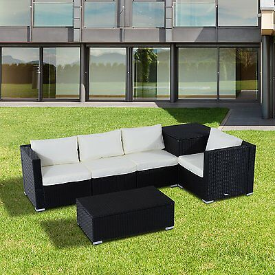 Outsunny 6pcs Deluxe Rattan Wicker Sofa Garden Sectional Couch W/ Cushion