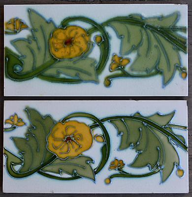 Alfred Meakin - Antique Art Nouveau Majolica 2 Border Tiles C1900