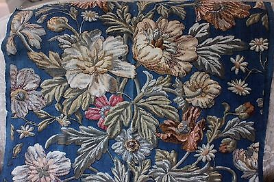 Antique c1860-70 French Large Scale Home Block Printed Floral Textile Sample