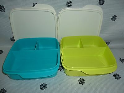 Tupperware Divided Square Lunch Box Set of 2 550ml Green & Blue New