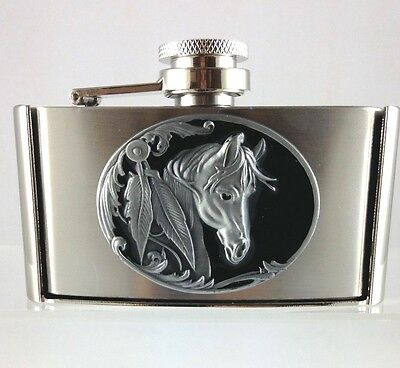 Drink/hip Flask Belt Buckle - Indian Horse - Stainless Steel - 3Oz/90Ml - New
