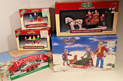 Lot of Lemax / Noma Village Accessories Tree Skaters Gifts Bridge Dickensvale