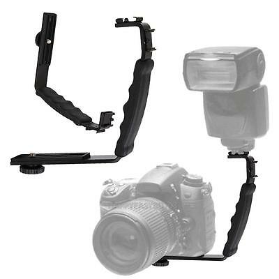Dual Hot Shoe L-shaped Angle 2 Shoe Flash Mount Bracket DV Tray for DSLR Camera