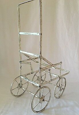 Antique Metal Toy Pram Doll Stroller.