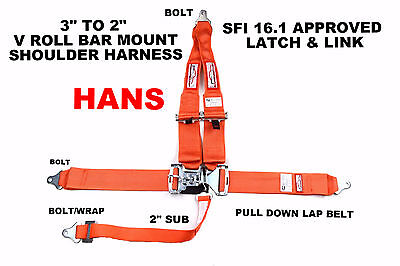 "Hans Racing Harness Sfi 16.1  5 Point V Roll Bar Mount 3"" Latch & Link Orange"