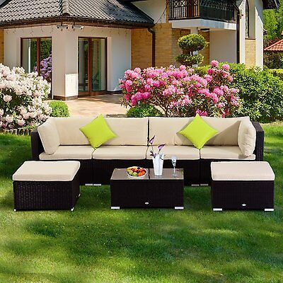 Outsunny 7Pc Rattan Set Outdoor Furniture Wicker Cushioned Sectional Sofa Lounge