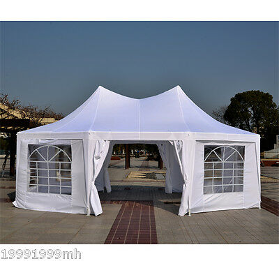 Outsunny Octagonal Wedding Party Tent Gazebo Canopy with Sidewall White
