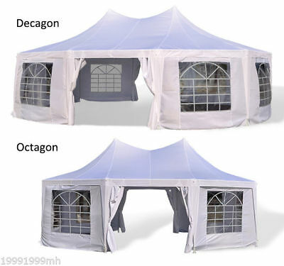 Outsunny Decagon Octagonal Wedding Party Tent Gazebo Canopy w/ Sidewall White