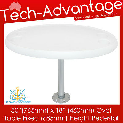 "Boat Caravan White 30"" X 18""  Oval Table With Fixed 685Mm Height Pedestal & Base"