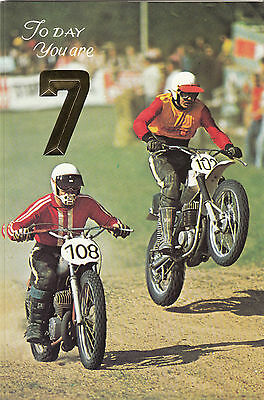 Vintage Speedway Motorbikes 1970s Happy 7th Birthday Greeting Card ~ 7 Years Old