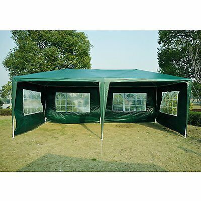 Outsunny 20x10ft Camping Party Tent Gazebo Wedding Canopy with 4 Sidewalls Green