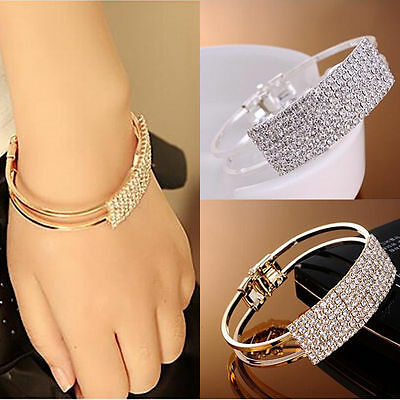 Gold Silver Plated Chain Wristband Bangle Crystal Cuff Bracelet Jewelry Gift UK