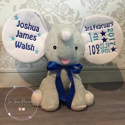 Personalised Cubbie Dumble Elephant, New Baby, Teddy Bear Gift, Baby Blue