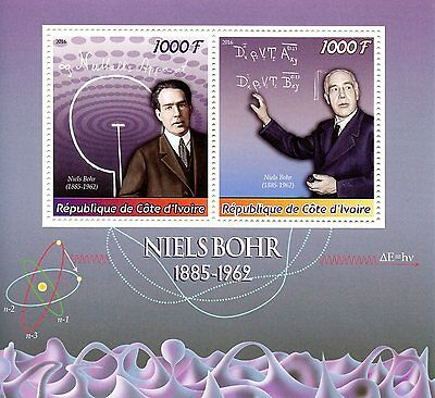 Ivory Coast 2016 MNH Niels Bohr 2v M/S Physics Science Stamps