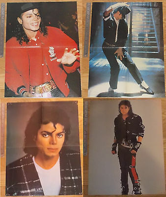 2 original HUGE 4-page magazine POSTERS Michael Jackson BAD Black or White PHOTO