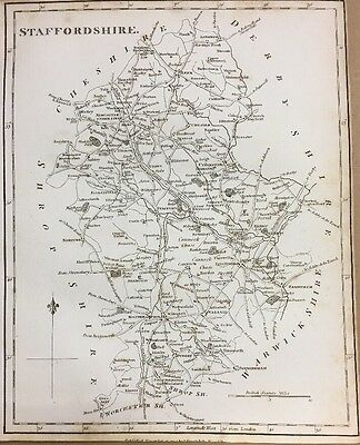 1795 Staffordshire Original Antique Map By Stockdale 221 Years Old