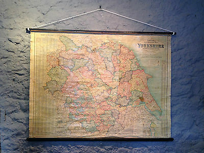 Vintage Antique Bacon'S Excelsior School Wall Hanging Map Of Yorkshire Edwardian