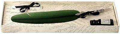 Green Pewter Feather Quill & Ink Set by Coles Calligraphy