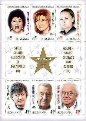 Romania 2016 MNH Golden Stars Stage & Screen Pt II 6v M/S Film Actors Stamps