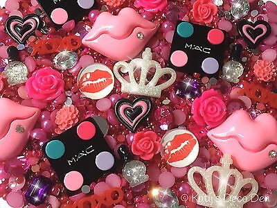 Girly Make Up Decoden Kit - Pink Red Cabochons, Jewels, Pearls, Rhinestones