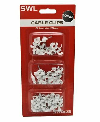 100 Pack White Cable Clips Wall Tacks Wire Cord Detangle Clamp Assorted Sizes