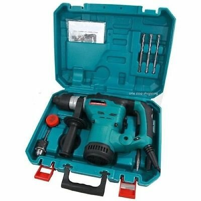 1200W Heavy Duty Rotary Sds Hammer Drill 240V & Chisels In Case 3 Year Warranty