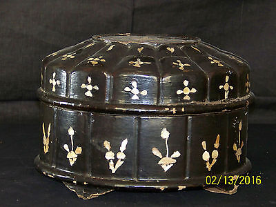 Oriental Mother of Pearl Inlay Lacquer Wood Sectional Container Box