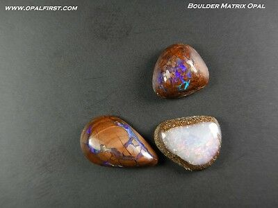 6 ct natural solid Queensland boulder matrix opal from Australia by Opal First!