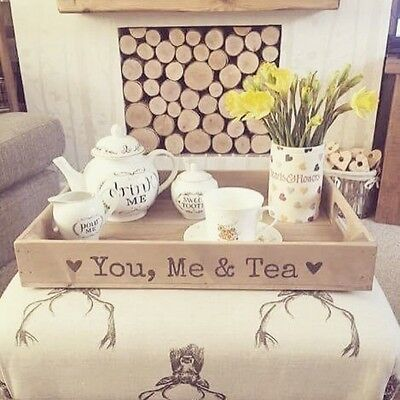 Rustic Wooden, YOU, ME & TEA Tray Apple Crate Tray Vintage Style Rustic